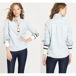 J.Crew Long Sleeve Blue Faded Chambray Popover Top